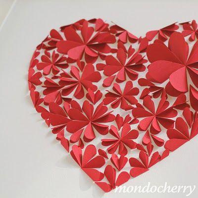 Folded hearts... all arranged into a heart.