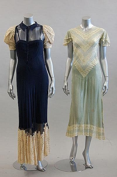 ~Two 1930s summery evening dresses~ via Kerry Taylor Auctions