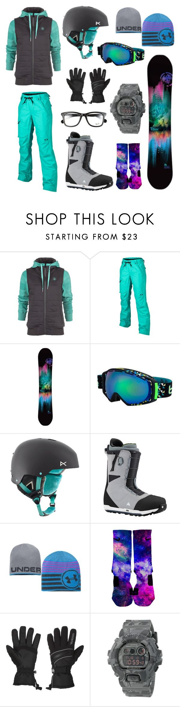 """Snowboarding"" by mj04 ❤ liked on Polyvore featuring Volcom, Oakley, Bolle, Burton, Under Armour, Rossignol, G-Shock and Ray-Ban"