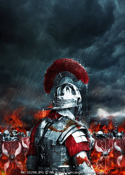 www.arcangel.com - a-roman-soldier-stands-in-the-rain-wet-and