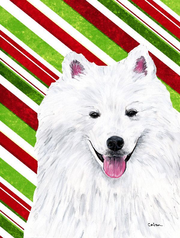 American Eskimo Candy Cane Holiday Christmas 2-Sided Garden Flag