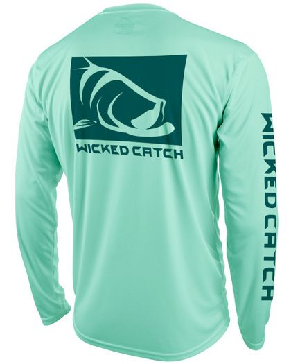 Wicked Catch men's long sleeve performance fishing shirt featuring UPF 50 sun protection. #fishingshirt