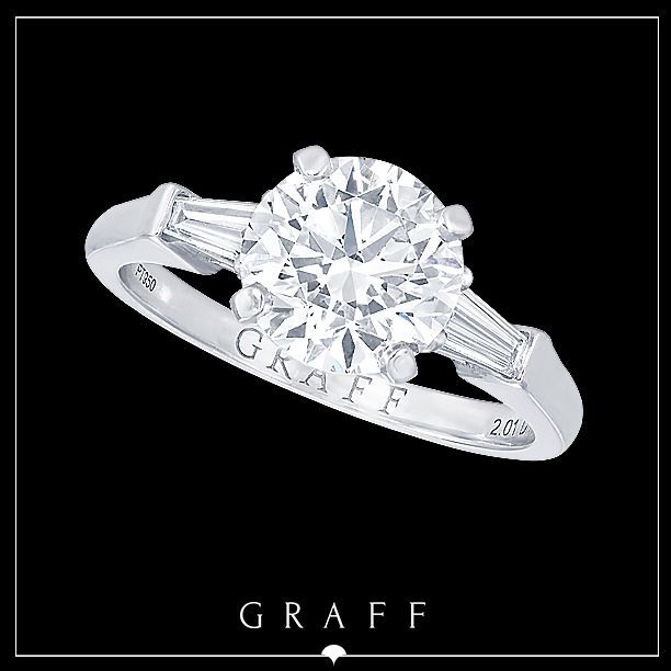 2.31ct Emerald Cut Diamond with Tapered Diamond Shoulders.  #graffdiamonds #graff #bridal #wedding #engagement #ring