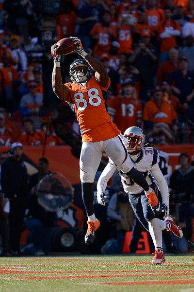 Description of . Denver Broncos wide receiver Demaryius Thomas (88) makes a touchdown catch in the third quarter. The Denver Broncos take on...
