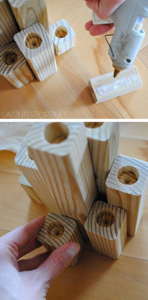 wood candle holder block | DIY: Gold Wood Block Candle Holder inspired by an item in the Nate ...
