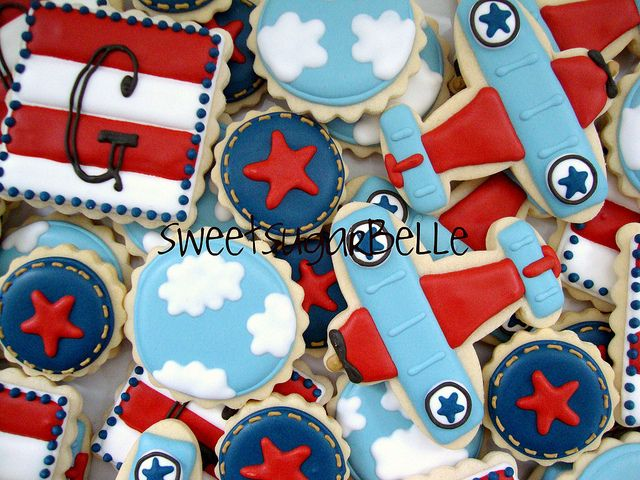 More great planes, clouds, denim and stripey cookies! loving the monograms!!