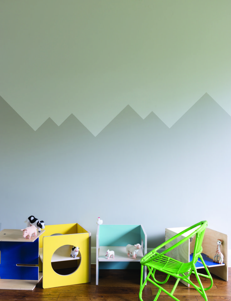 Purbeck Stone and Ammonite in a graphic mountain range style. Farrow and Ball full stock here at www.waringstore.co.uk