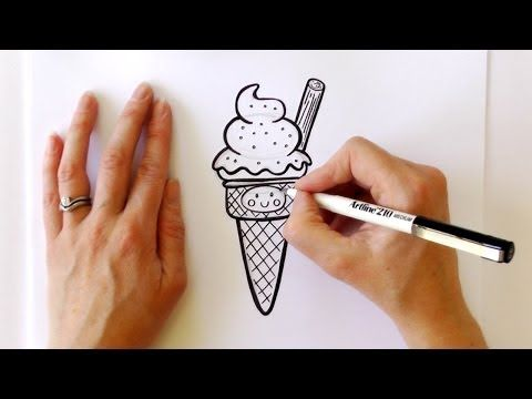 how to draw an ice cream cone easy