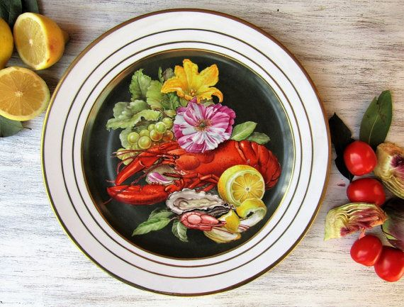 Still life hand painted porcelain plate with by LaTavolozzaShop