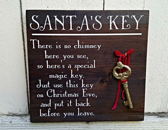 Painted Santa's Magic Key Sign  Santa's by CustomPaintedSigns4U