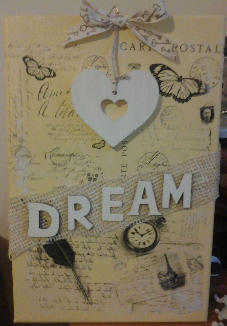 home decor quadro su tela shabby Dream canvas