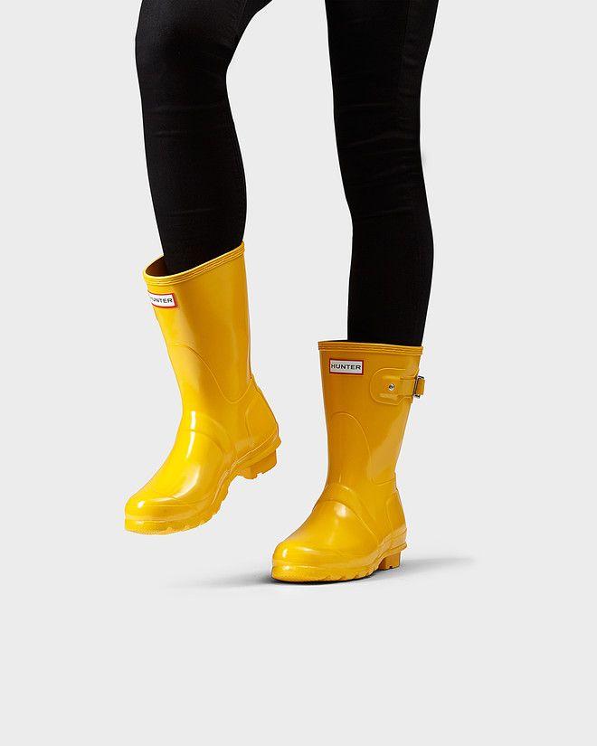 Womens Yellow Short Hunter Rain Boots- Size 8