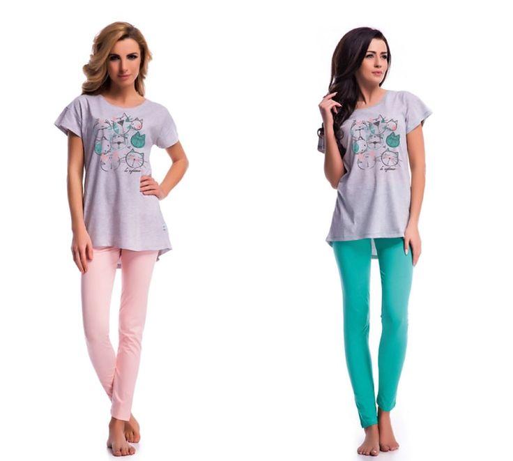 Damen Schlafanzug Pyjama Hausanzug Nachthemden Nachtwäsche Baumwolle S M L XL