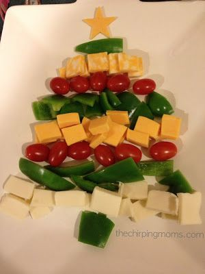 Christmas Tree Appetizer Plate with Vegetables & Cheese.