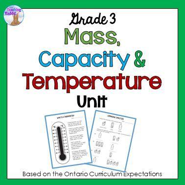 Mass, Capacity & Temperature Unit for Grade 3 (Ontario Curriculum ...