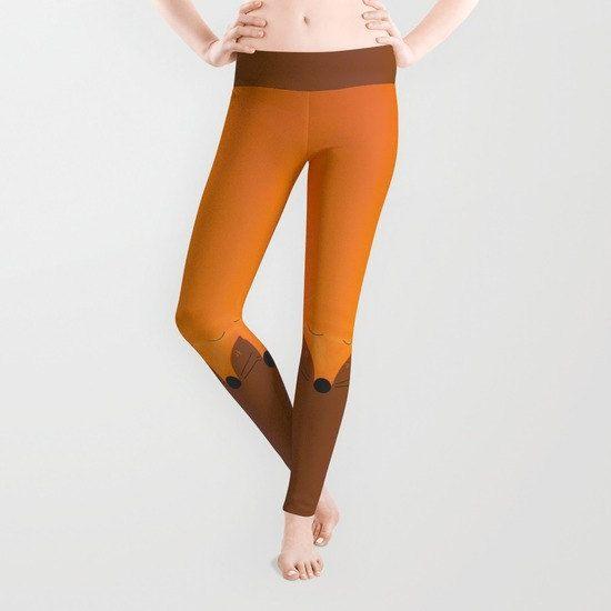 Leggings Fox Yoga Orange Tangerine Brown Personalizable - 5 Sizes- Spandex  Running Sport Gym Animal Tights Womens Printed Spandex Fashion