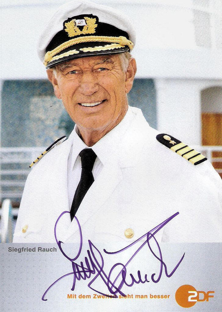 https://flic.kr/p/GiEhoi | Siegfried Rauch in Das Traumschiff (1997-2013) | German autograph card by 2DF. Photo: ZDF / Dirk Bartling. Publicity still for the TV series Das Traumschiff/The Dream Boat (1997-2013).  Siegfried Rauch (1932) is a popular German film and television actor. In the 1970s he appeared in several international films. He has been an actor for over 45 years, in approximately 200 productions.