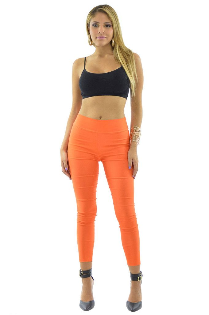 High Waisted Orange Leggings | Sexyback Boutique