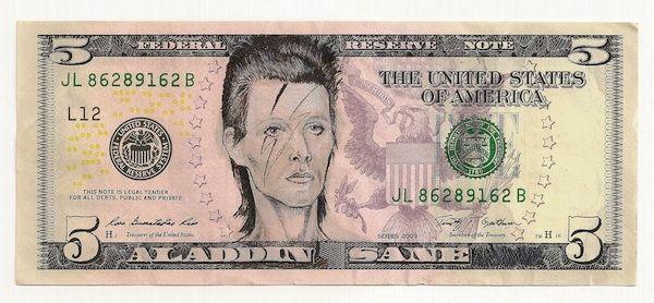 James Charles Aladdin Sane Ink Drawing on United States Bank Note