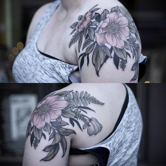 One shot floral shouldercap for Carrie. Peonies, ferns, one little anemone. Thanks lady! I really enjoyed this one.