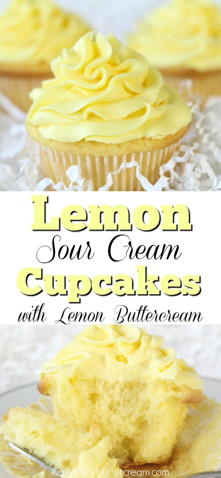 These lemon sour cream cupcakes have a moist, soft consistency, with just the right amount of lemon taste, then topped with buttercream that's packed full of lemon flavor.