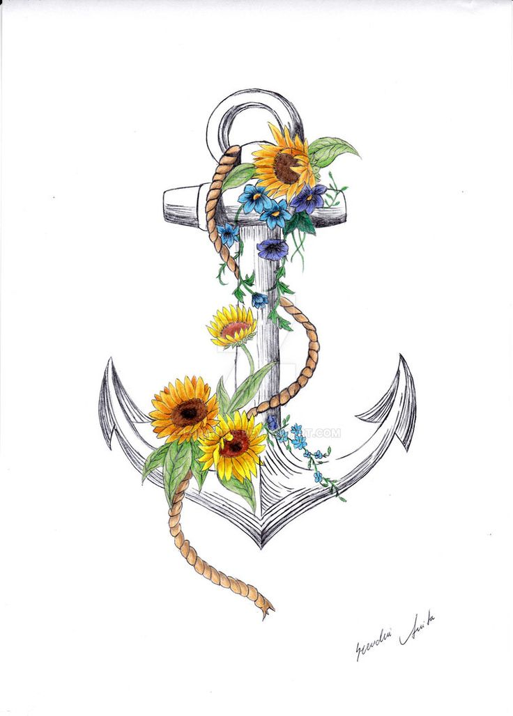 Anchor and sunflower by Lupanita on DeviantArt