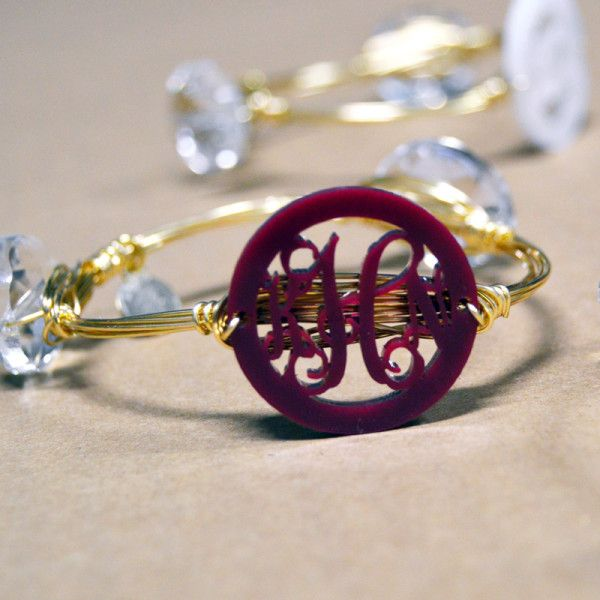 Acrylic Monogram Bangle Bracelet - Super fun with just a hint of extra bling and that's always a good thing!