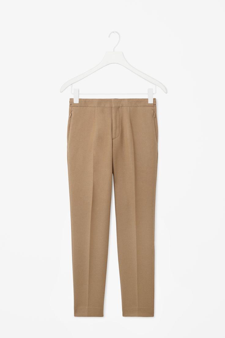 Zip tab trousers