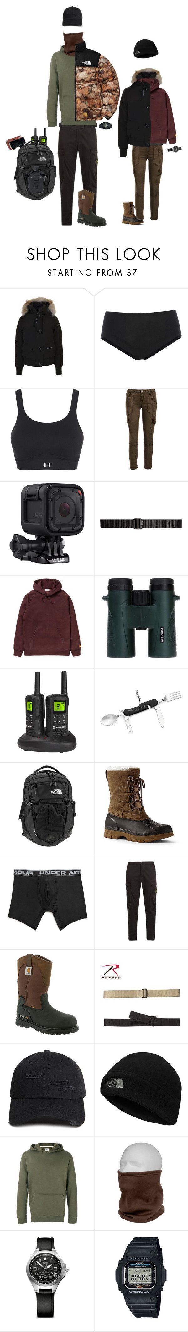 """""""Finding Bigfoot"""" by kevin-whitcanack on Polyvore featuring Canada Goose, Wolford, Under Armour, Joie, Rothco, GoPro, 5.11 Tactical, Carhartt, Motorola and Celebrate Shop"""