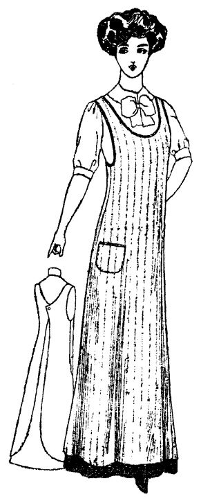 """Ladies' One-Piece Kitchen Apron: Circa 1910 Size: 36"""" Bust This pattern was published by Peerless Patterns. It is a very simple pattern consisting of the apron, cut on the fold, and the pocket. It buttons at the back neck with one button. Suggested fabrics: Aprons were made of white cotton percale, woven ginghams and printed cottons. Woven gingham colors were blue-plaid, blue and white check and black-and-white-check."""