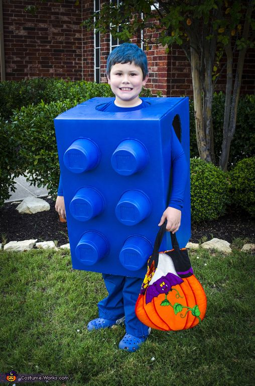 Valerie: I made this costume for my son, Parker, who loves legos! It is made from a cardboard box, with the bottom cut out, two holes in each side for arms,...