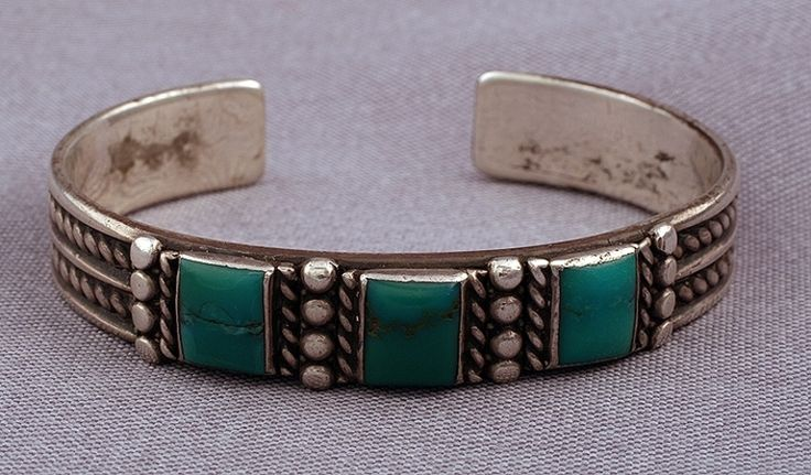 Silver Ingot Bracelet with 3 Pillows of Turquoise, Jewelry by Navajo   $1075