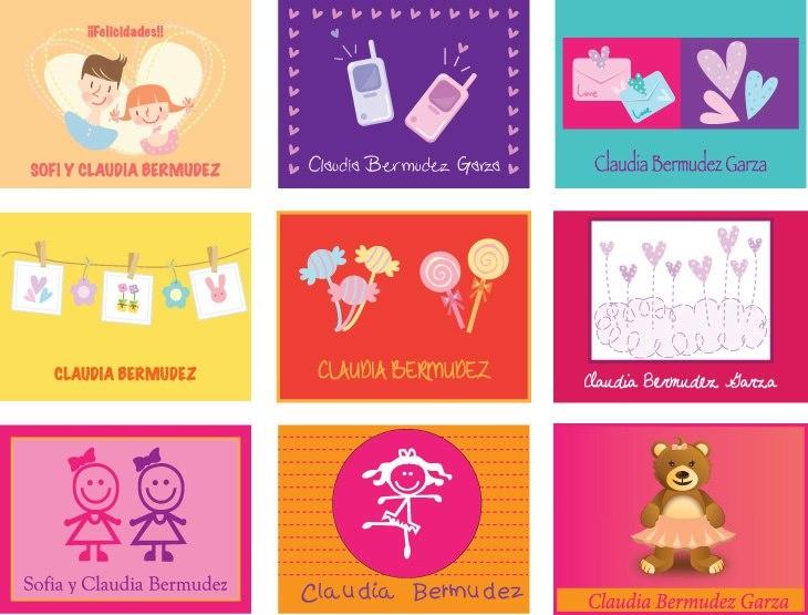 Tarjetas para Niñas... (Personales, para identificar libros de escuela, para regalo, etc.)