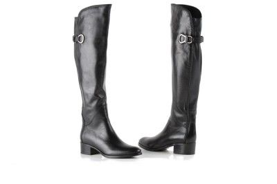 Le Pepe black leather boots with buckle
