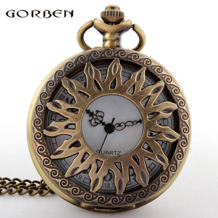 P04 Sunflower Hollow Antique Pocket Watch Bronze Necklace Pendant With Chain relogio de bolso