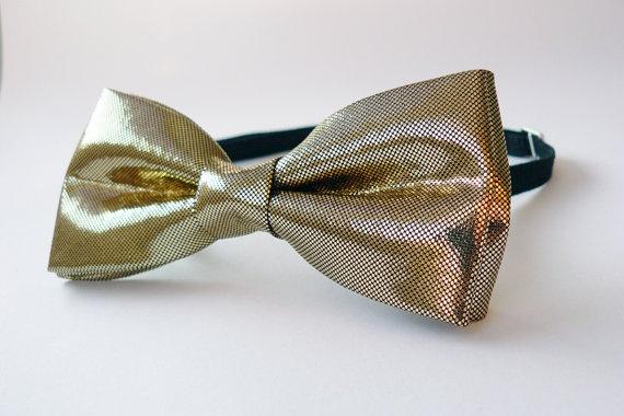 Shiny Gold Bow Tie for Men by Bartek Design by BartekDesign, €21.50 - for best man
