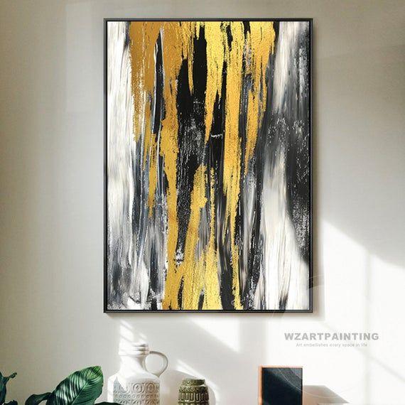 Framed Wall Art Modern Abstract Gold Black White Large Wall Art