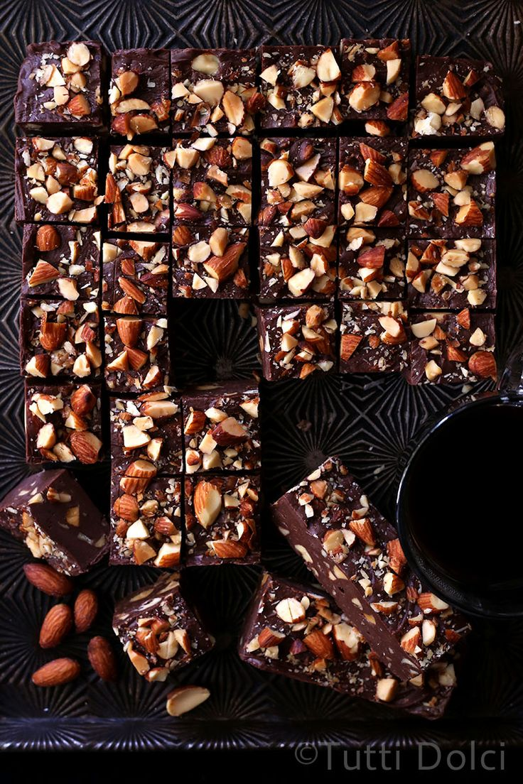 Mocha Almond Fudge. Delicious chocolatey fudge with a hint of coffee flavor, topped with almonds.