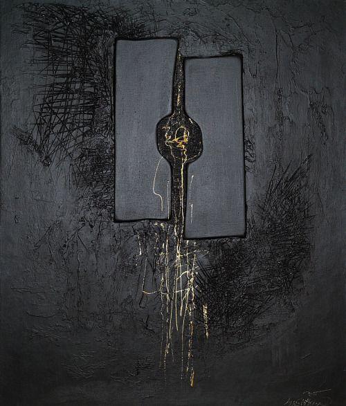 NOČNÍ ROZHOVOR I.  NIGHT INTERVIEW I. – akryl, sololit, kombinovaná technika, -  acrylic, hardboard, mixed media 57 x 47 cm, 2015