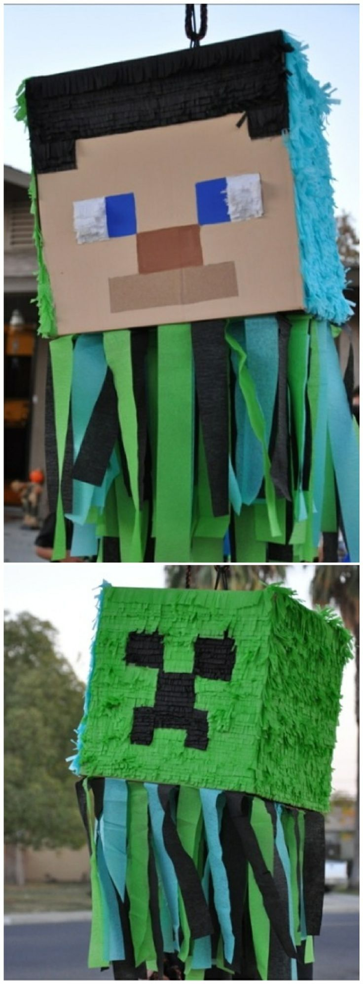 Double sided minecraft pinata for my sons birthday party.