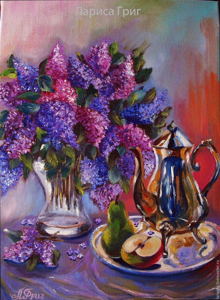 """Купить """"Ароматное утро""""- картина маслом - сиреневый, сирень, букет цветов, кофе, фрукты"""