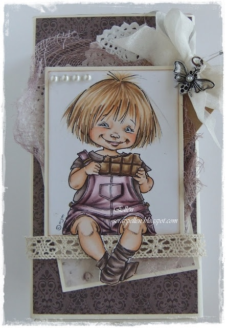 """Mo Manning stamp """"Chocolate Smile""""   Skin: E21, E00, E000, E0000, E42, E93  Hair: E25, E53, E52, E51, E50  T-skjorte/Sokker: E79, E77, E74, E71, E70  Shorts: RV99, RV95, RV93, RV 91, RV000  Chocolate: E27, E25, E55, E42, E53, E50, N4"""
