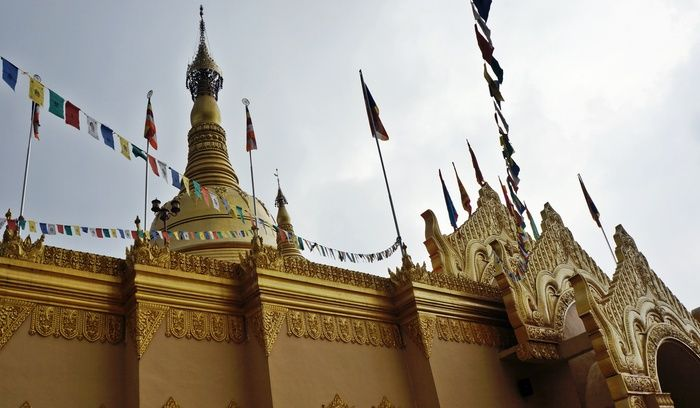 Cultural copycat: The golden Lumbini Temple in Berastagi is said to be a replica of Shwedagon Temple in Burma. (Photo by Edna Tarigan)