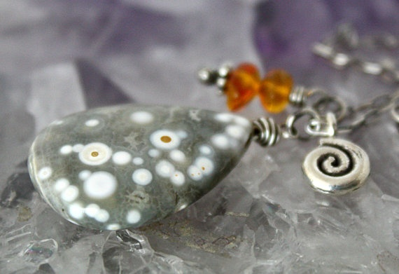 Ocean Jasper Genuine {Amber Hill} Tribe Spiral Swirl... guess how I came across this? Love it :)