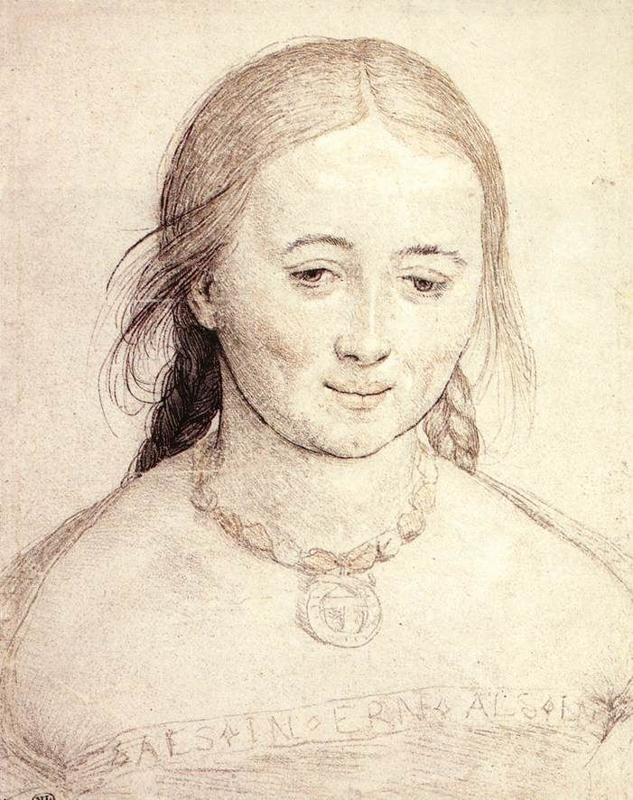 """Portrait of a Young Woman"", Hans Holbein, silver-point, reworked with pen and black ink, heightened with red chalk and white, on paper. Study for the Virgin in the ""Madonna of Soleure, painted in 1522.  Louvre"