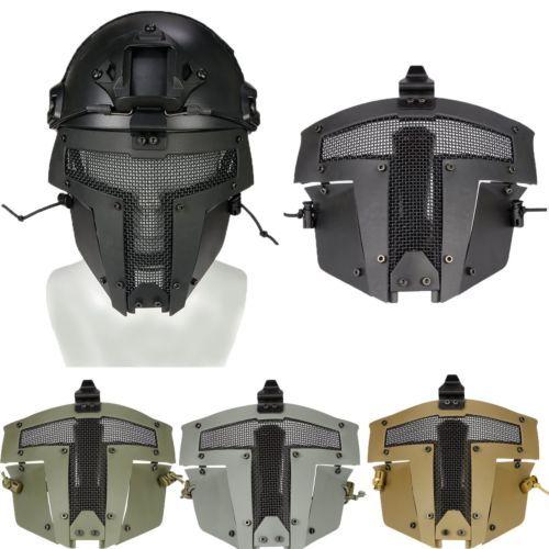 Tactical Black Airsoft SPT Steel Mesh Full Face Mask Sparta AF Helmet Mask Cover