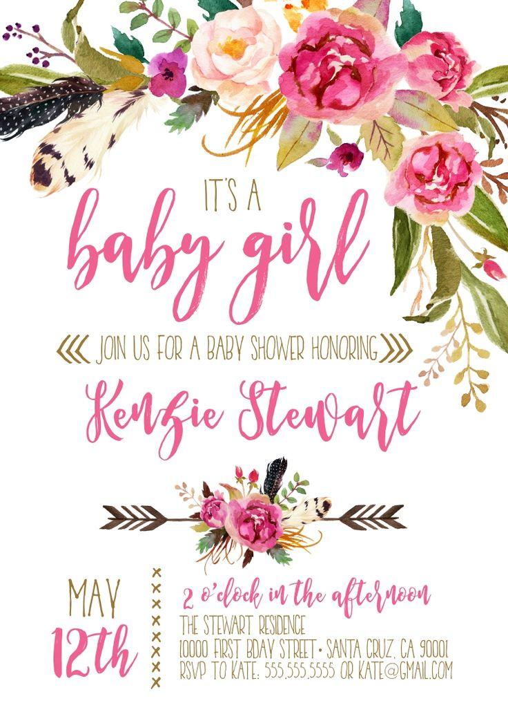 Girl Baby Shower invitations, Boho Baby shower invitation, Bohemian themed baby shower Ideas by LovelyPaperShop