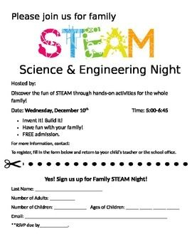 This is a informational flyer and RSVP for hosting a Family STEAM Night at your school. STEM