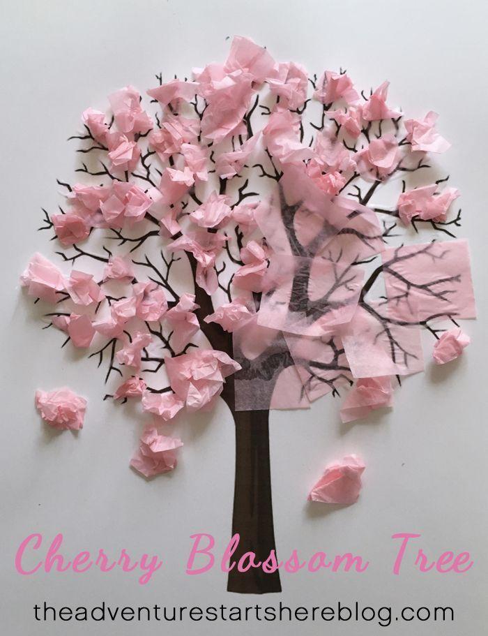 Tinker Cherry Blossom Tree Kid Crafts Toddler Craft The Adventure Begins Flower Crafts Crafts For Kids Kids Crafts Toddlers