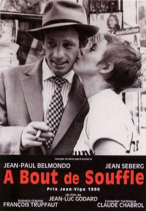 """""""A bout de souffle """" Film intégral À bout de souffle est un film français, emblématique de la Nouvelle Vague, réalisé par Jean-Luc Godard, sorti en 1960. Jean-Luc Godard Jean-Paul Belmondo Jean Seberg"""